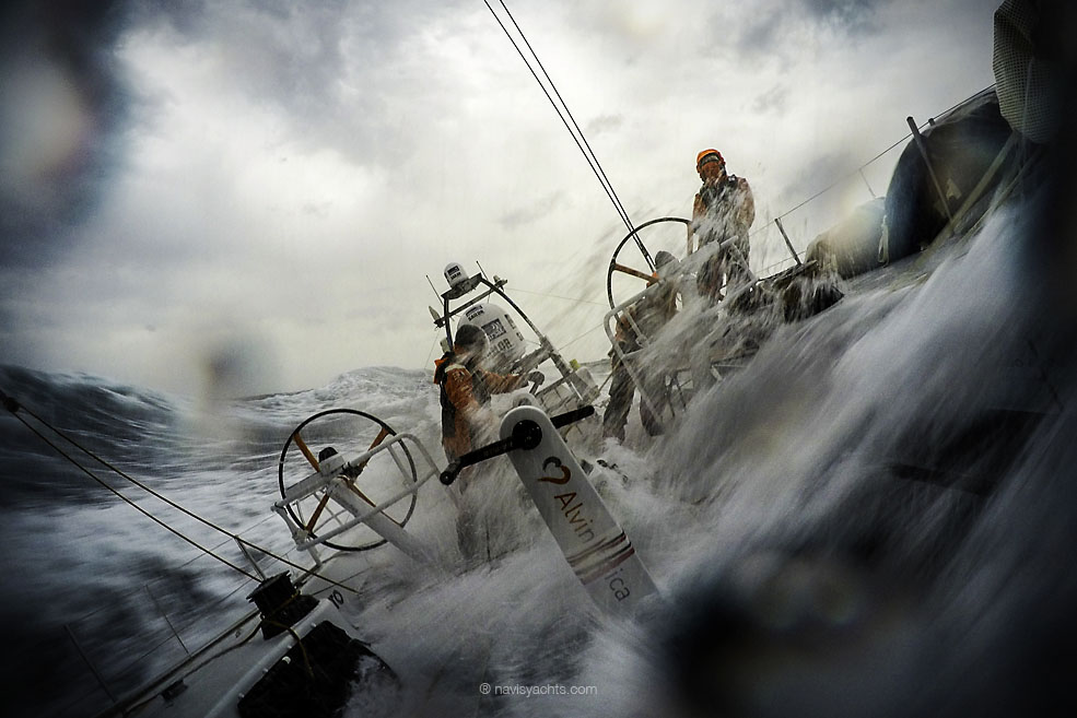 April 1, 2015. Leg 5 to Itajai onboard Team Alvimedica. Day 15. Conditions worsen as the fleet outuns a nasty system of low pressure moving east off the coast of South America, with upwind sailing in 35-40 knots of wind creating uncomfortable sailing. Stu Bannatyne drives upwind in very rough South Atlantic conditions.